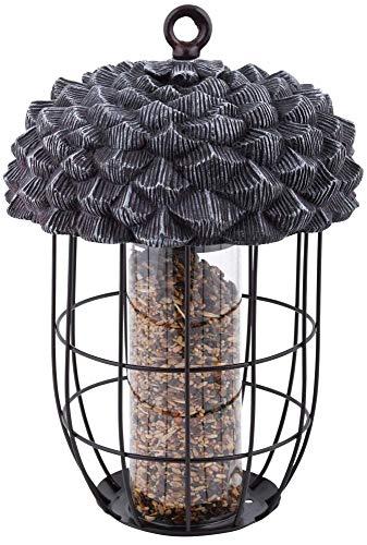 Rivanto® Eichel Futtersilo aus Metall, Ø 20,2 x 28,9 cm, mit Aufhänge-Öse, in Eichel-Optik, für Wildvögel, attraktive Gartendekoration