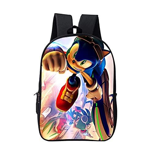 heshuqiaoFC Nuevo Anime Sonic Printed School Bag Mochila De Dibujos Animados Bolsa De Viaje Para Estudiantes De Primaria Y Secundaria-1_42X29X16Cm