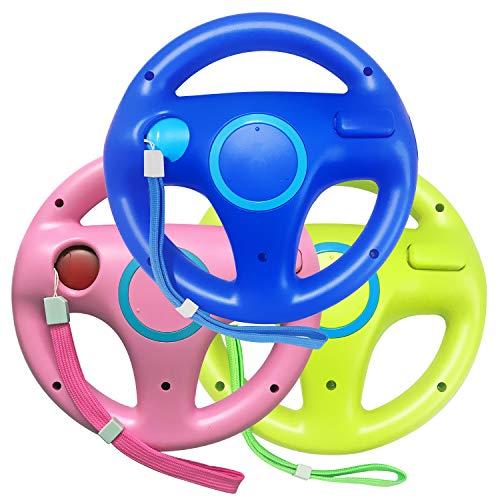 Jadebones 3PCS Blue Pink Green Racing Steering Wheel with Wrist Strap for Wii and Wii U