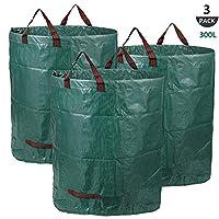 Set di 3 sacchi per rifiuti da giardino, Capacità di 300 litri (al sacco) , Può essere piegato per risparmiare spazio e per essere stipato. Robusto, antistrappo: Realizzata in tessuto di polipropilene resistente agli strappi e idrorepellente, non irr...