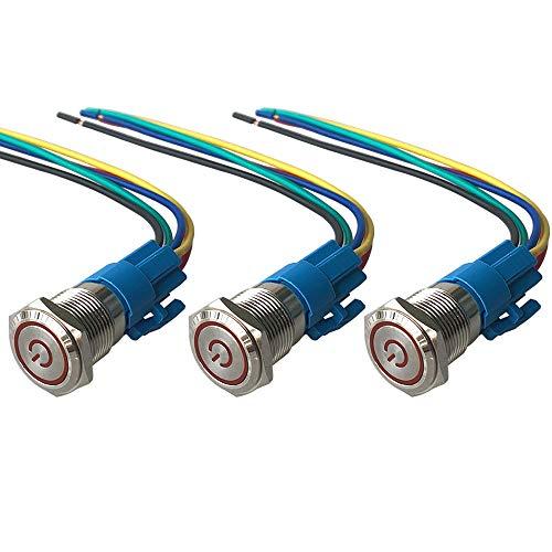 QitinDasen 3Pcs Premium 12V / 24V 5A Interruptor de Botón Autoblocante, 16mm Interruptor de Botón Metálico, LED Rojo Interruptor Pulsador Impermeable IP67 con Enchufe de Cable