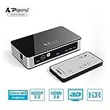 Portta Commutateur HDMI2.0 3 Entrée à 1 Sortie Switcher 4K@60H IR Télécommande...