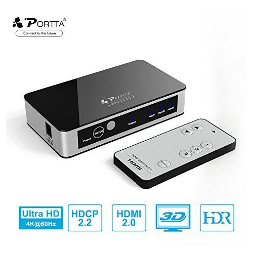 Portta, Premium V2.0 3 Puertos, Negro, V2.0 HDMI Switcher