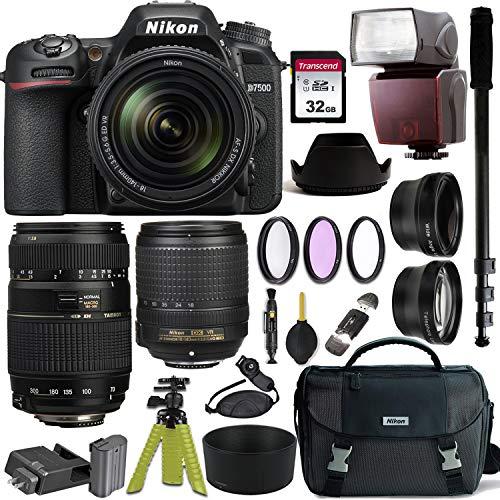 Nikon D7500 DSLR Camera with AF-S DX NIKKOR 18-140mm f/3.5-5.6G ED VR and Tamron AF 70-300mm f/4-5.6 Di LD Macro Lens for Nikon DSLR + Nikon Gadget Bag & Accessory Bundle