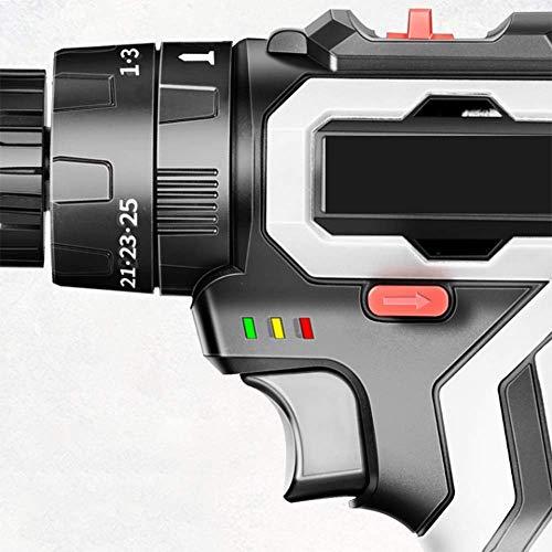 XDXDO Taladro Eléctrico De Dos Velocidades A Batería De 18V, Atornillador De Impacto con 2 Baterías, Regulación De Velocidad 25 + 1, Par: 35 NM, Velocidad De Rotación: 1300 RPM, para Bricolaje