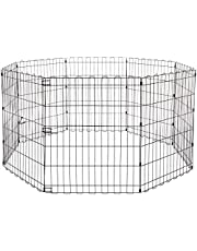 Amazonbasics 9004-30A Składany Metalowy Kojec dla Zwierząt Domowych, 152,4 X 152,4 X 76,2 cm