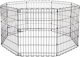 AmazonBasics Foldable Metal Pet Dog Exercise Fence Pen - 60 x 60 x 30 Inches