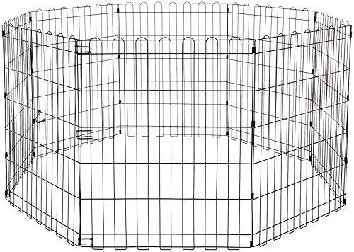 Amazon Basics - Parque de juegos y ejercicios para mascotas, paneles de valla metálica, plegable, 152,4 x 152,4 x 76,2 cm