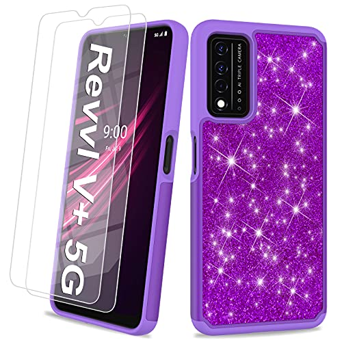 UNPEY for T-Mobile Revvl V Plus 5G Case for Women Girls - Glitter Phone Case with Tempered Glass Screen Protectors, Bling Cute Design Dual Layer Hybrid Phone Cover,Sparkly Cell Phone Case - Purple