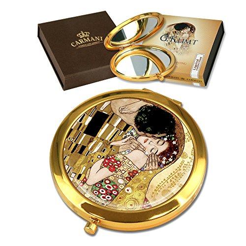 Carmani - Bolsillo de oro plateado bronce, compacto, viajes, Espejo decorado con pintura de Klimt 'El beso'