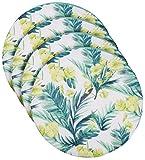 Brandseller - Juego de 4 cojines para silla, cojín de suelo, redondo, diámetro de 40 cm x 3 cm, diseño de flores, color turquesa y verde