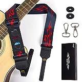 AKLOT Correa de guitarra Correas de hombro de banjo ajustables para guitarra acústica eléctrica clásica con retenedores, púas, ganchos de banjo, protectores de correa de guitarr