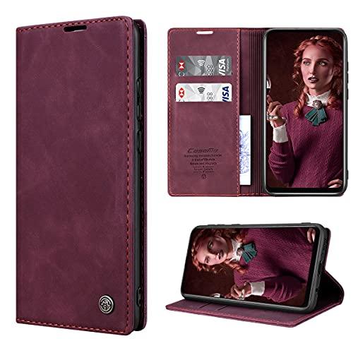 RuiPower Handyhülle für Samsung Galaxy A21s Hülle Premium Leder PU Flip Hülle Magnetisch Klapphülle Wallet Lederhülle Silikon Bumper Schutzhülle für Samsung Galaxy A21s Tasche - Wein Rot