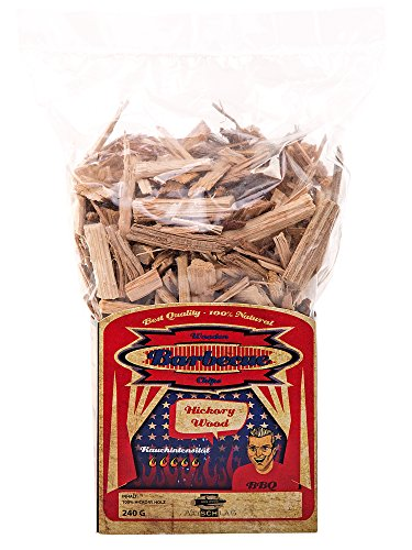 Axtschlag Räucherchips Hickory, ideale 240 g Probier-Packung, sortenreine Wood Chips für besondere Rauch- und Geschmackserlebnisse, für alle Grills