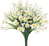 Ancokig Flores artificiales de margaritas al aire libre para decoración no se decolora, flores de plástico sintético, para jardín, porche, maceta, ventana, decoración (blanco)