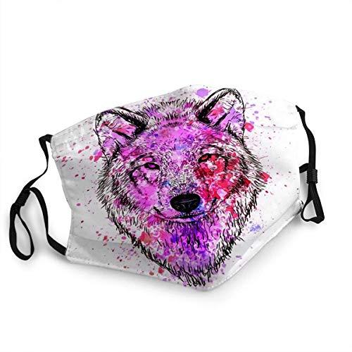 Wolf Fashion colorido personaje retrato con gafas, pañuelo facial unisex, reutilizable, bufanda bucal lavable, bufanda facial para hombres y mujeres, decoración facial anti polvo