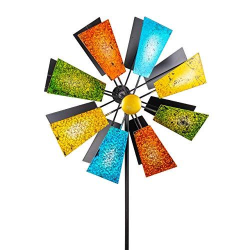CIM Metall Windrad Doppelwindrad Glitter – 127cm Gesamthöhe und 37cm Windrad-Durchmesser – wetterfest und UV-beständig – Gartendekoration mit 2-teiligem Standstab – inkl. 2-zackiger Bodenverankerung