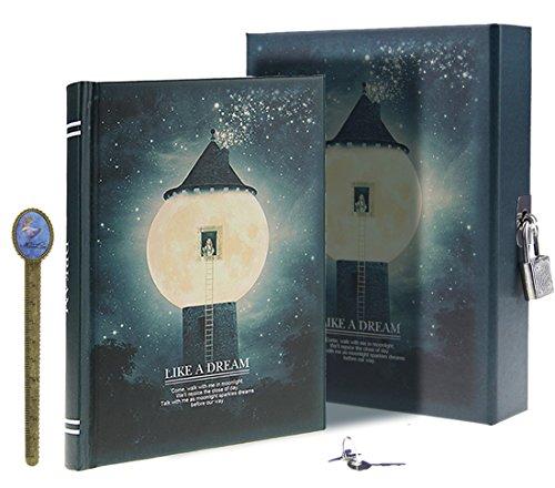 LY, Like a dream, diario segreto, modello: chiaro di luna, taccuino per appunti e disegni, con lucchetto, 288 pagine, con custodia, formato A6 Misura unica Blackish Green, Lighthouse