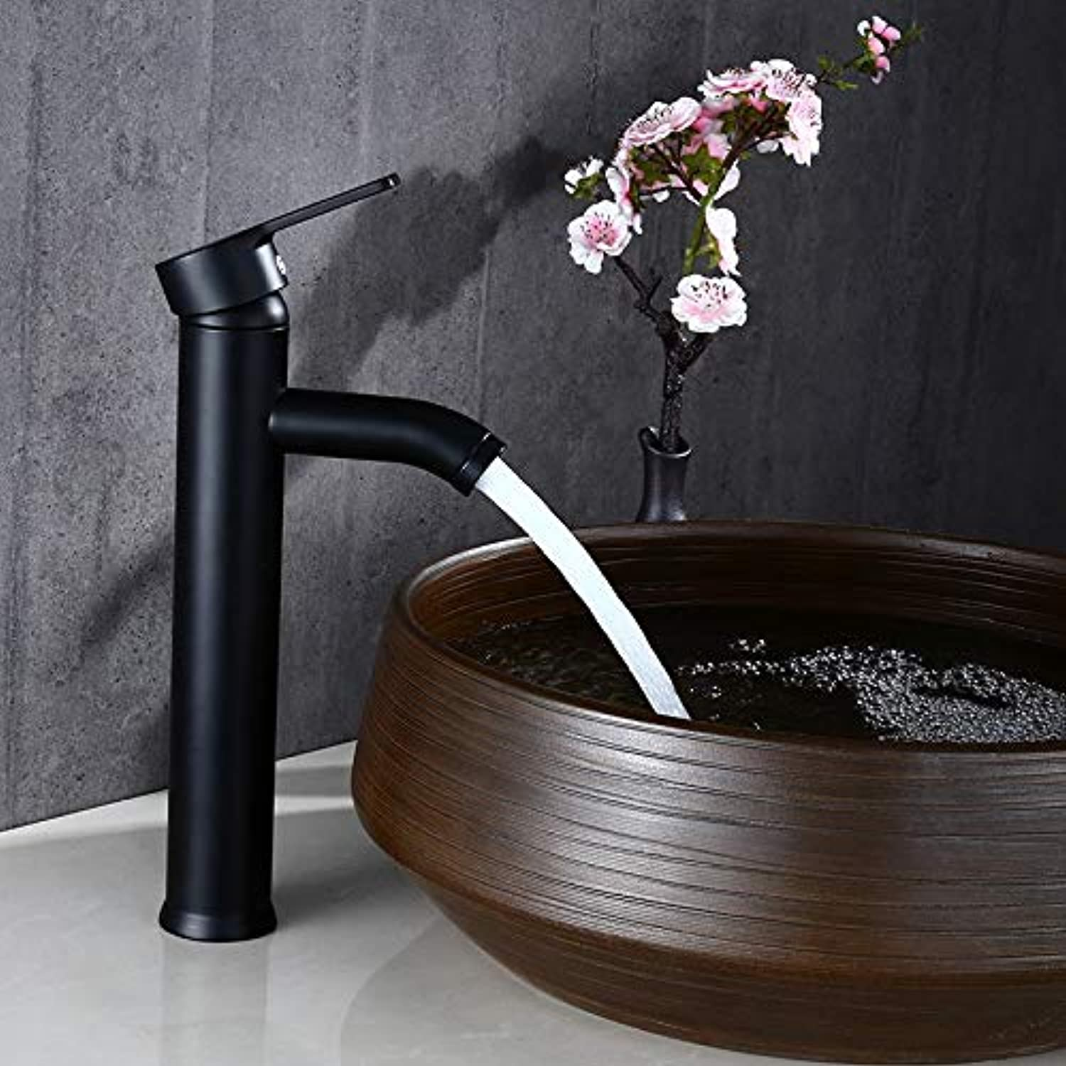 Above Counter Basin Faucet Hot and Cold Water Bathroom Cabinet Faucet Sink Mixed Water Wash Basin Black Dragon