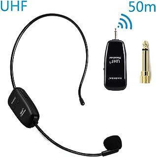Amplificateur Haut-parleur Haute Puissance Microphone sans fil,XIAOKOA 2.4G Wireless Microphone,Transmission Stable sans fil de 50m,Porter un Microphone//Microphone /à main,pour Haut-parleur