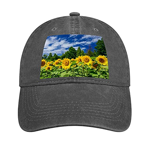 VEIMER Adult Curved Rubber Cowboy Hat Sunflower Can Be Adjusted, Suitable for Men and Women Fashion Lovely Fun Charcoal