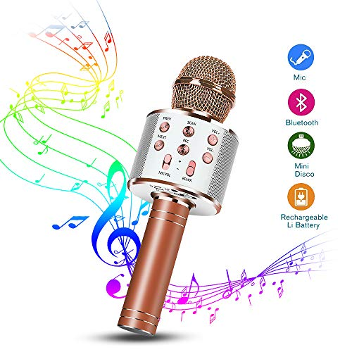 Karaoke Mikrofon, Drahtlose Bluetooth Mikrofon 1A Tragbares Handmikrofon mit Lautsprecher und Aufnahme, Drahtlose Mikrofon Player für Erwachsene und Kinder