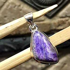 Natural Purple Sugilite 925 Solid Sterling Silver Pendant For Necklace