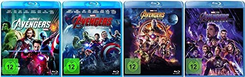 Avengers 1-4 (1+2+3+4) Komplett / Teil 1 + Age of Ultron + Infinity War + Endgame [Blu-ray Set] Marvel