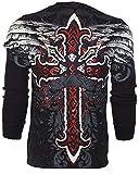 Affliction Archaic Men Long Sleeve Thermal Shirt RED Flag Cross Biker (XXX-Large)