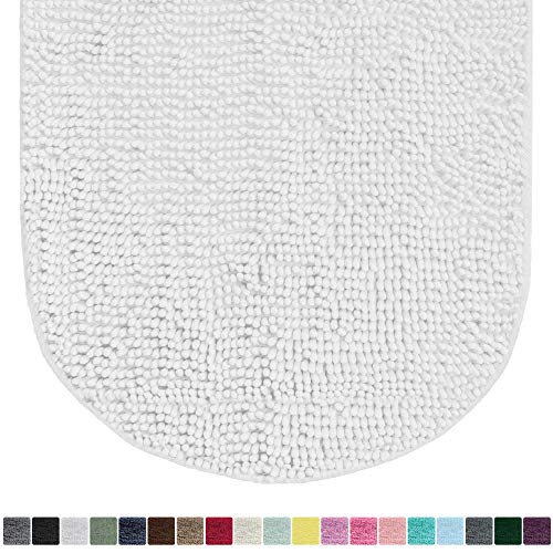 Gorilla Grip Original Luxury Chenille Oval Bath Rug Mat, 42x24, Extra Soft and Absorbent Large Shaggy Bathroom Rugs, Machine Wash Dry, Plush Carpet Mats for Tub, Shower, and Bath Room, White