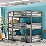 Twin Over Bunk Bed Triple Beds with Slide, Solid Wood Bunk Bed for Kids, Adults, Can be Divided Into 3 Separate Beds (Grey)