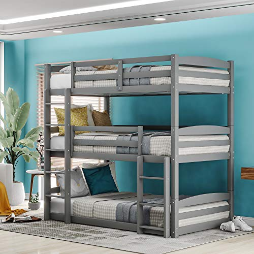 Merax Twin Triple Bunk Bed for Kids, Wood Twin Size Triple Bed Frame with Guard Rail and Ladder, Can be Divided into 3 Separate Beds (Triple Bed, Grey)