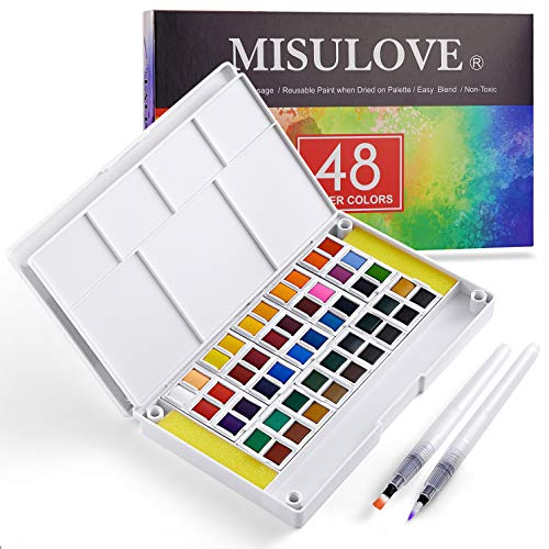 MISULOVE Watercolor Paint Set, 48 Colors, Watercolors Field Sketch Set with Brush and Paper & Built in Palettes for Students, Kids, Beginners and More