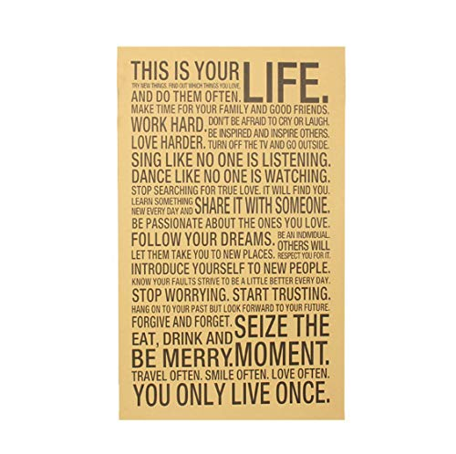 World Popular Wall Sticker This Is Your Life Inspirational Word Kraft Paper Retro Poster Home Office Wall Sticker73.5 * 44.5Cm