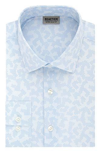 Kenneth Cole REACTION Men's Dress Shirt Extra Slim Fit Stretch Stay-Crisp Collar Print, Sky Blue, 16'-16.5' Neck 36'-37' Sleeve (Large)