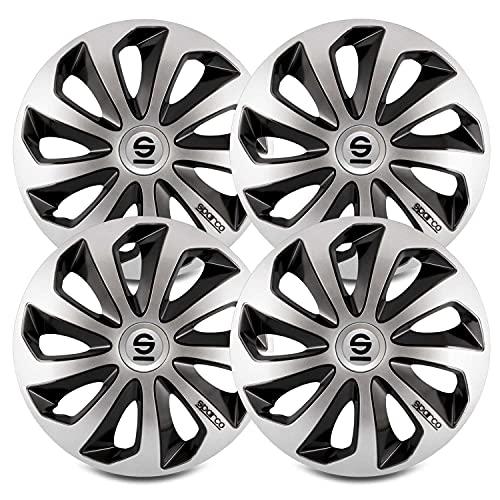 "Sparco SPC1373SVBK Sicilia Wheel Covers, Silver/Black, Set of 4, 13"""