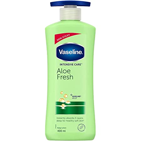 Vaseline Intensive Care Aloe Fresh Body Lotion, with Aloe Extract, Non Greasy, Non Sticky Formula For Hand & Body for Normal Skin 400 ml