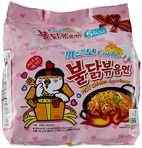 Samyang Hot chicken stir fried ramen noodle, Carbo...