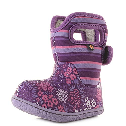 BOGS Girls Baby NW Purple FLORAL Stripe Washable Insulated Wellies Boots 724831-7 UK 24 EU