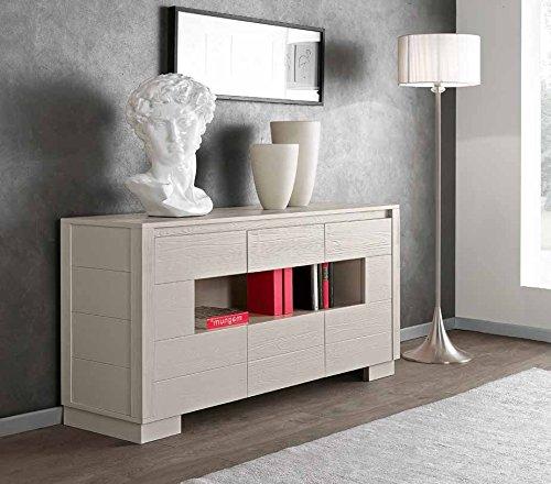 Legno&Design Buffet Buffet Madia 2 Portes latérales 1 tiroir Central 1 Compartiment Jour Bois Massif