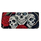 Skull and Roses Tattoo Black Cloth Wallet Handmade in the USA
