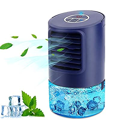 RenFox Air Conditioner Fan, Mini Air Cooler, Portable Personal 4 in 1 Air Circulator, Humidifier, 3 Speed Misting Fan, 7 LED Night Light and Timer, for Home & Office & Outdoor