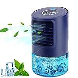 Condizionatore Portatile Personale, 4-in-1 Raffrescatore Ventilatore Umidificatore Depuratore, Raffreddatore D'aria, con 3 Velocità,Timer 2/4h, 7 Colori Luce, per Casa e Ufficio