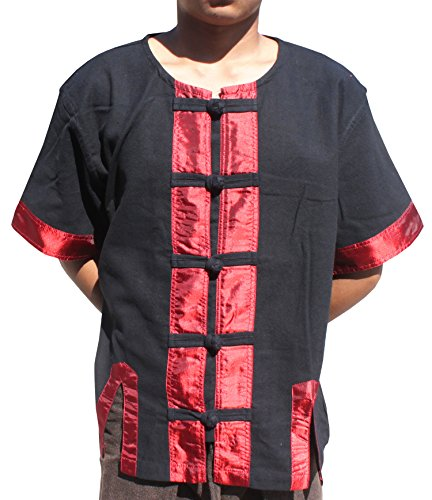 RaanPahMuang Short Sleeve Round Collar Silk Trim Thai Farmers Shirt, X-Large, Black Trim Red