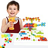 Building Block Games Set With Toy Drill & ScrewDriver Tool set - Educational building blocks construction games Develop Fine Motor Skills - Best Kids Toys for boys & girls age 3 + year old