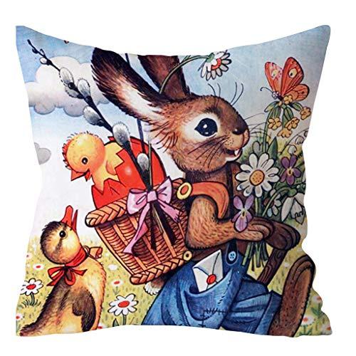 Dasongff Dekorative Kissenhülle 45 x 45 cm Ostern Kaninchen-Muster Drucken Schlafsofa Festlich Kissen Home Decor Casual Kissenbezug Dekokissen Zierkissen mit Tiermotiv