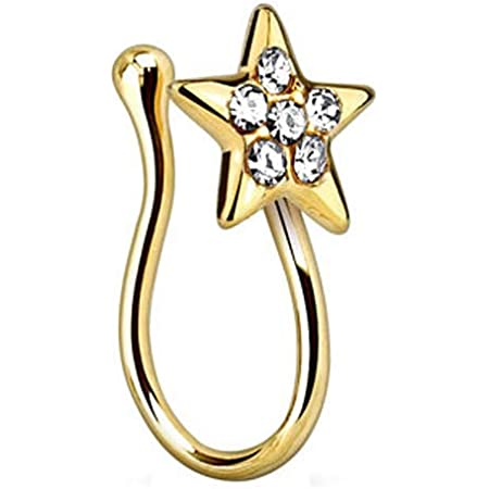 Belly Button Clip Gold Plated Non-Piercing BodyJewelryOnline