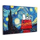 魅力的な芸術 ピーナッツ スヌーピー Snoopy アートパネル ポスター モダン 北欧 印象派 インテリア キャンバス (40*50, White1)