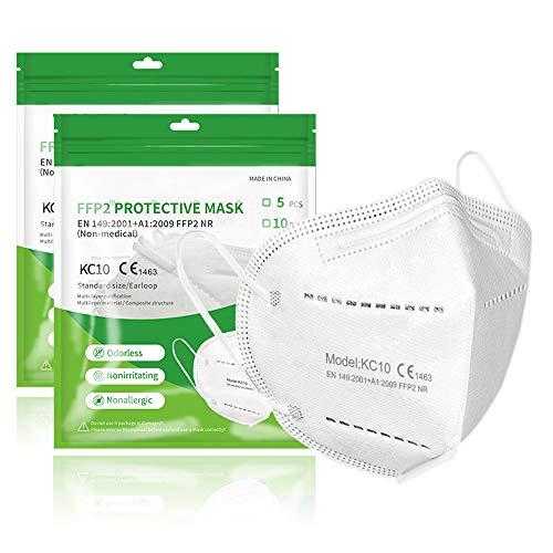 Kangcheng Medical 10 Stück FFP2 Maske CE zertifiziert Weiß, geprüfte Atemschutzmaske 5-lagig, Schutz Masken, Mundschutz, Staubschutzmaske, deutscher Händler