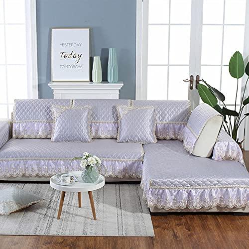 KENEL Segmentiert Sofa Überwürfe Cover, Rückenlehne Handtuch Europäischer Stil Sommer eiseide Sofa kissen-80 * 160 + 20cm Rock_Lila-Verkauft in stück